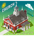 Isometric Rural Church Building vector image