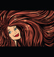 joyful woman background with long hair right vector image vector image
