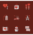 Love flat icons on red vector image vector image