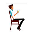 man holding wineglass vector image
