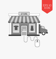 Managing online shop concept icon Flat design gray vector image vector image