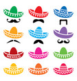 mexican sombrero hat with moustache or mustache ve vector image vector image