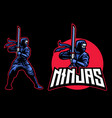 ninja mascot with katana sword vector image vector image