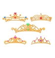 princess crowns tiaras with gems cartoon vector image