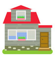 private house with a red roof vector image vector image