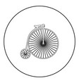 retro bicycle black icon outline in circle image vector image