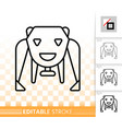 robot bear simple black line icon vector image vector image
