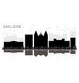 san jose costa rica city skyline black and white vector image vector image