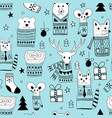 seamless christmas pattern with doodle animals vector image vector image