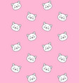 seamless pattern flat cat face on pink vector image vector image