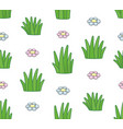 seamless pattern with grass and flowers vector image vector image