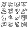 seminar and webinar video meeting icons set vector image