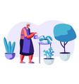 senior woman gardening hobby aged grey haired vector image