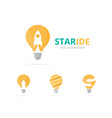 set of lamp logo combination lightbulb and vector image vector image