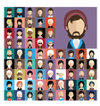 set people icons in flat style with faces 02 a vector image vector image