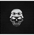 silver skull in helmet on metal background biker vector image