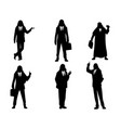 six silhouettes arab businessmen vector image vector image