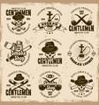 smoking gentlemen club set emblems vector image vector image