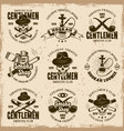 smoking gentlemen club set of emblems vector image vector image