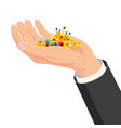 the hand that holds treasure gold gems diamonds vector image