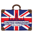 travel suitcase with flag britain and big ben vector image