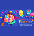wide cute banner for kids party in cartoon style vector image vector image