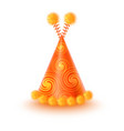 yellow party hat with spirals and pompons vector image vector image