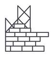 construction building brick wall line icon vector image