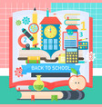 back to school banner with book education icons vector image