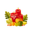 autumn fall candle home decoration icon