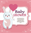 baby shower card with cute rabbit vector image vector image