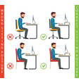 bad and good working position of human at computer vector image