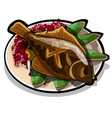 baked flounder on a plate with vegetables the vector image