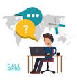 call center man desk work talk vector image vector image