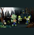 cartoon three zombie celebration a halloween party vector image vector image