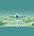 cartoon white airliner jet over runway vector image vector image