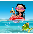 cartoon woman floats sitting in inflatable ring vector image vector image