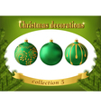 Christmas decorations Collection of green glass vector image vector image