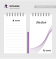 company name notebook with r logo design vector image