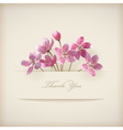 Floral spring thank you pink flowers card vector