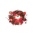fresh strawberries and raspberries in a chocolate vector image vector image