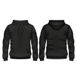 front and back black hoodie template vector image vector image