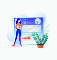 girl presents project charts and graph info vector image vector image