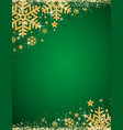green christmas background with frame of gold vector image