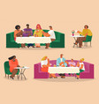group people eating and talking in restaurant vector image vector image