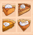 hand drawn four pumpkin pie slices vector image vector image