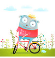 happy creature monster animal riding bike vector image