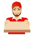 happy young pizza delivery guy vector image vector image