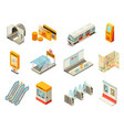 isometric metro station elements set vector image vector image