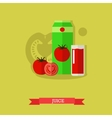 juice carton glass tomato vector image vector image